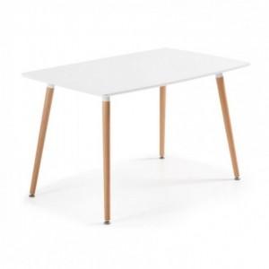 Mesa de cocina de diseño nórdico WAD sobre lacado blanco y pies de madera 140x80 cm