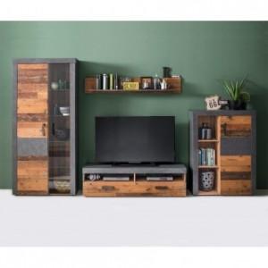 Mueble de salón modular INDIANA color madera envejecida y cemento de 313 cm
