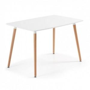 Mesa de cocina de diseño nórdico WAD sobre lacado blanco y pies de madera 120x75 cm