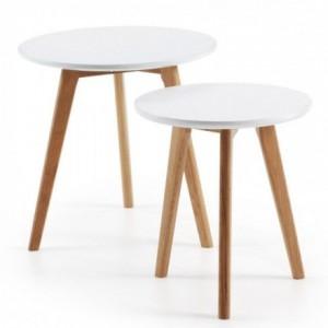 Set de dos mesas auxiliares de diseño nórdico BRICK dm blanco y pies en madera