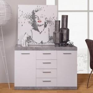 Mueble aparador de comedor de 120x38 h. 83 cm. Colección ESCANAR color hormigón y blanco