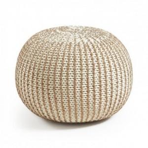 Puf oval de algodón tricotado blanco y cobre SHOTT 45x35