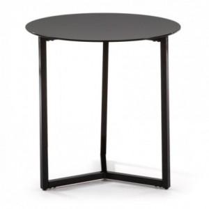 Mesa auxiliar RAEAM cristal templado negro y base de acero negro
