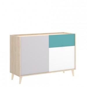 Aparador de diseño nórdico NOVA color blanco esmeralda natural gris 105x43 cm