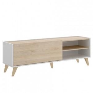 Mueble de TV de diseño nórdico NESS Tablero de partículas melaminizado color blanco/natural o grafito/natural 155x43 cm