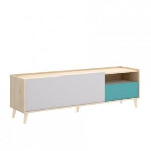 Mueble de TV diseño nórdico NOVA tablero de partículas melaminizado en color blanco/esmeralda/natural/gris 155x43 cm