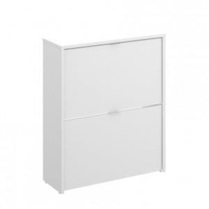 Zapatero de diseño moderno JAZZ tablero de partículas melaminizado color blanco brillo 61x25x76 cm