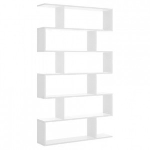 Estantería alta de diseño moderno LIS tablero de partículas melaminizado color blanco brillo, natural o cemento 80x25x190 cm