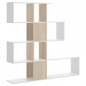 Estantería de diseño moderno FUNK tablero de partículas melaminizado color blanco y natural 145x29x145 cm