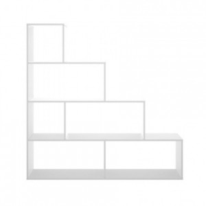 Estantería de diseño moderno TEN tablero de partículas melaminizado color blanco y natural 145x29x145 cm