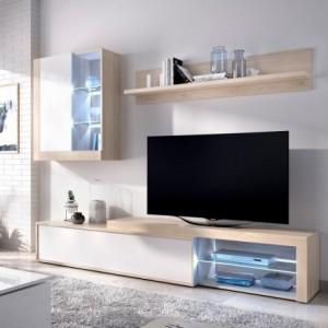 Mueble de salón modular KOLN color blanco brillo y natural de 215 cm