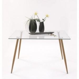 Mesa de comedor de diseño nórdico CAIRO tapa de cristal y patas de metal color roble 120x80 cm