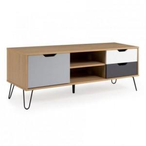 Mueble de tv de diseño nórdico KIRUNA mdf en roble, blanco y gris y metal 130x40 cm