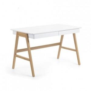 Mesa de escritorio de diseño nórdico INGO sobre DM lacado blanco y pies de roble 120x70 cm