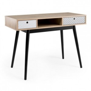 Mesa de escritorio de diseño vintage CARLA sobre de MDF color roble y patas de madera en negro 110x48 cm