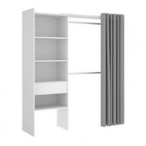 Armario vestidor con cortina SUIT color blanco, adaptable de 160 a 110 cm