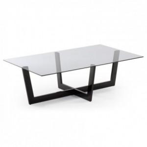 Mesa de centro PLAM cristal fume gris y estructura de acero negro