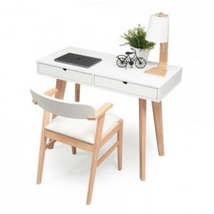 Conjunto de escritorio MELAKA mesa escritorio de 110x45 cm y silla color madera natural y blanco