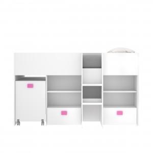 Cama alta juvenil con escritorio extensible CHIC tablero de partículas melaminizado color blanco, fucsia y azul 205x107x120 cm