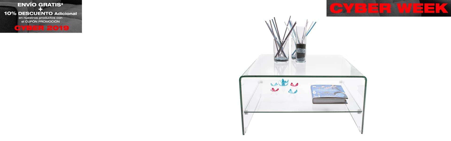Mesa de centro de cristal Murano 80x80