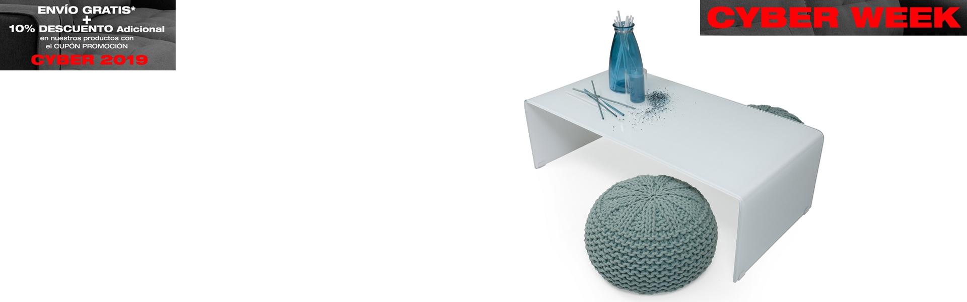 Mesa de centro de cristal curvado MURANO WHITE