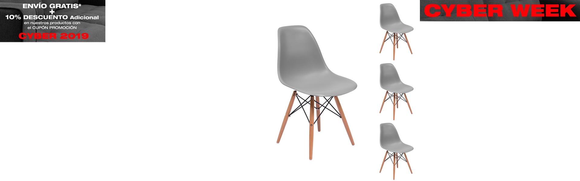 Juego de 4 sillas de comedor MAX inspiracion silla Tower de Eames